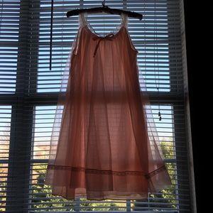 Vtg USA pink nylon chiffon babydoll Nightgown S